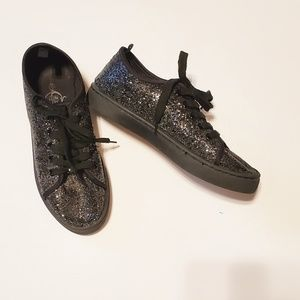 Black Glitter Lace Up Sneakers - 6/7